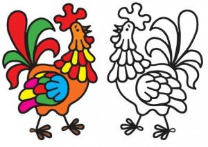 animals coloring pages cock