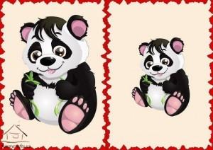 big and small panda