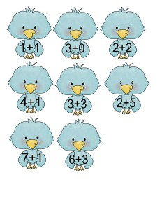 birds additions math activities