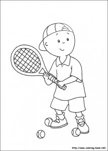 caillou coloring pages tennis