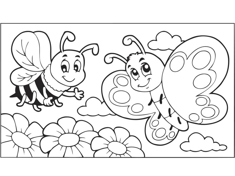 Coloring pages butterfly funnycrafts for Insect coloring pages preschool