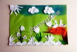 cotton pad bird craft