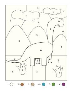 dinosaur coloring numbers