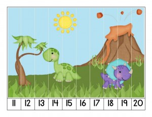 dinosaur number puzzle cool