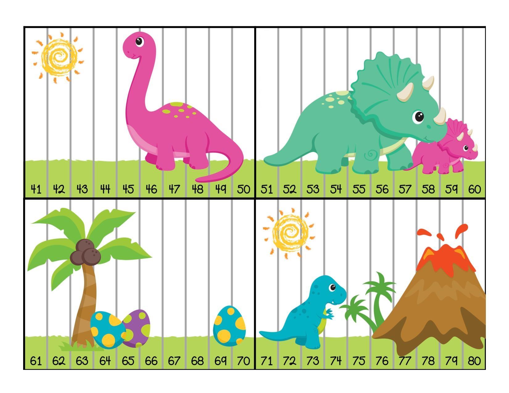 Dinosaur Activities for Preschool » dinosaur numbers puzzle activity