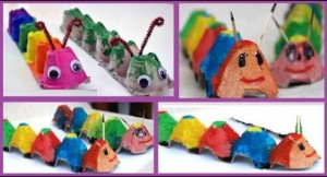 egg box craft caterpillar