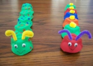 egg box craft caterpillar for kıds