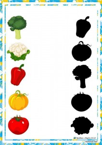 preschool activities shadow vegatables