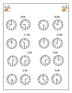 preschool animals  clock activities