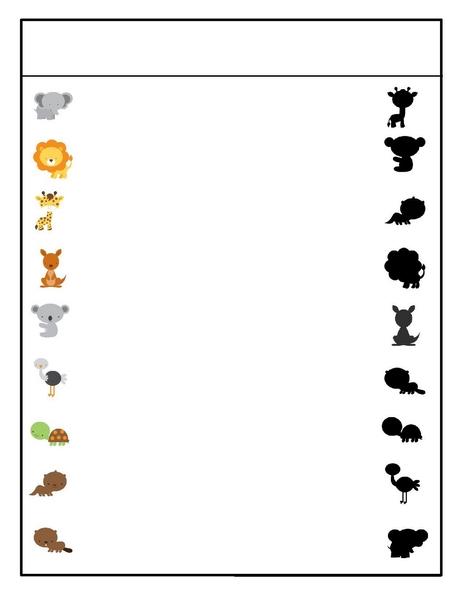 Preschool Animals Shadow Matching Activities on Recycle Worksheets For Preschool Education Com