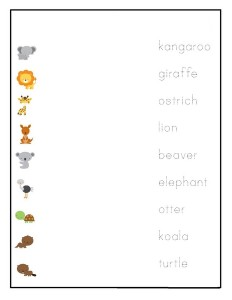 preschool animals  word matching
