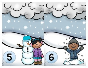 snowflake number cards activity