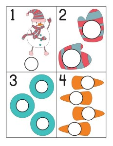 snowman number cards