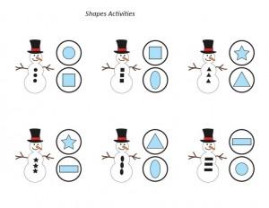 snowman shapes activity
