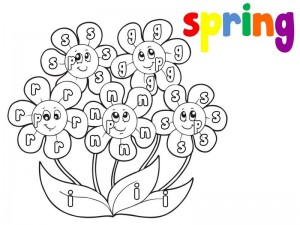 spring coloring page alphabet