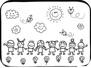 spring coloring page children