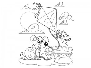 spring coloring page kite