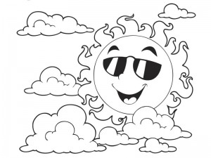 spring coloring page sun