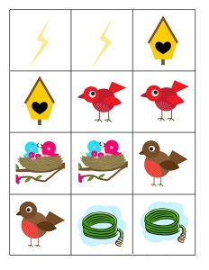 spring matching cards for preschool
