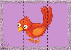 three piece puzzle bird