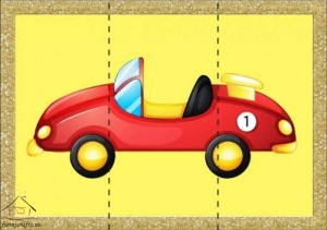 three piece puzzle car