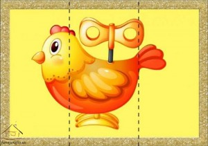 three piece puzzle chicken toys