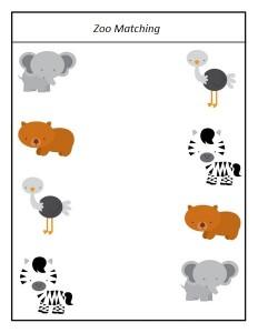 zoo matching for preschoolers