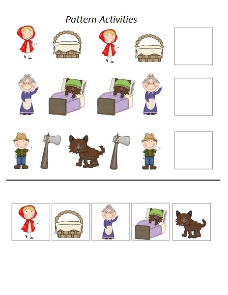 ... Riding Hood Activities » Little red riding hood pattern worksheets