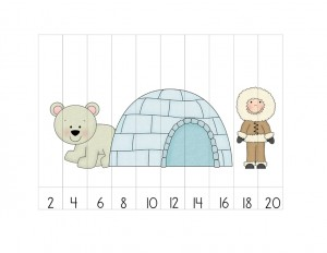 arctic animals number puzzles