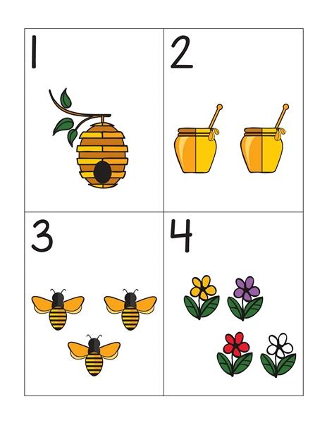 Bee Worksheets Number Cards Funnycrafts