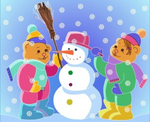 color painting snowman