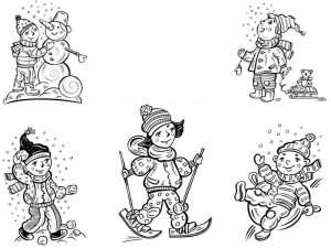 coloring pages winter  snowman for kıds