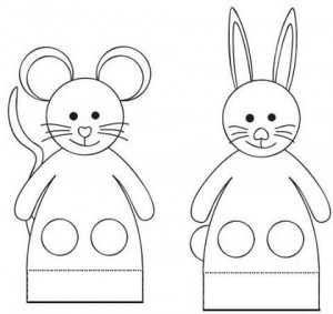 finger puppet worksheets rabbit and mause