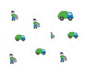 garbage truck worksheets shapes
