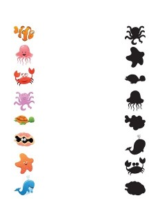 ocean animals worksheets shadow matching