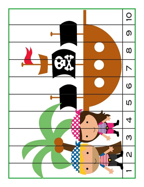 Pirate Worksheets for Kindergarten » pirate worksheets number puzzle