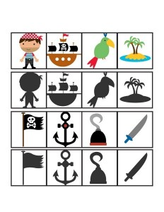 pirate worksheets shadow matching
