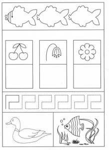 preschool tracing line and coloring