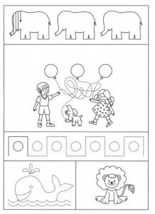 preschool tracing line and coloring animals