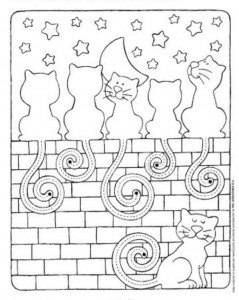 preschool tracing line and coloring cats