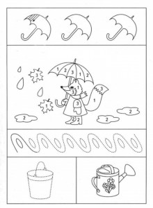 preschool tracing line and coloring rain