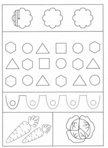 preschool tracing line and coloring shapes