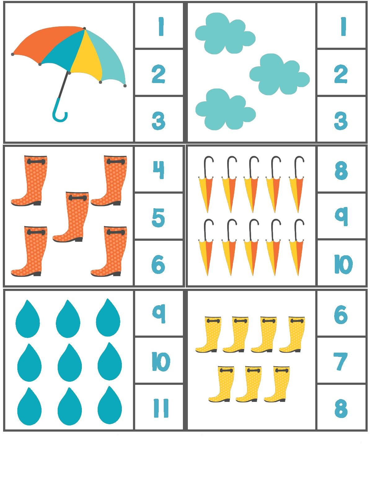 Rain Themed Counting Activity With Clothespin 3 on Preschool Writing Pages