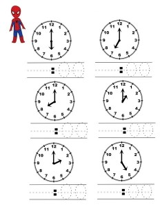 superheroes worksheets clock activity