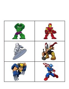 superheroes worksheets matching image