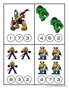 superheroes worksheets number