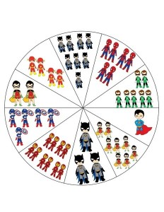 superheroes worksheets number wheel