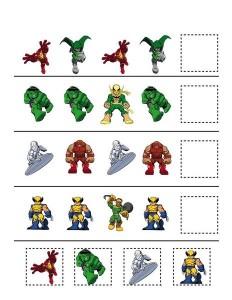superheroes worksheets pattern