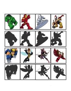 superheroes worksheets shadow matching