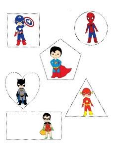 superheroes worksheets shapes